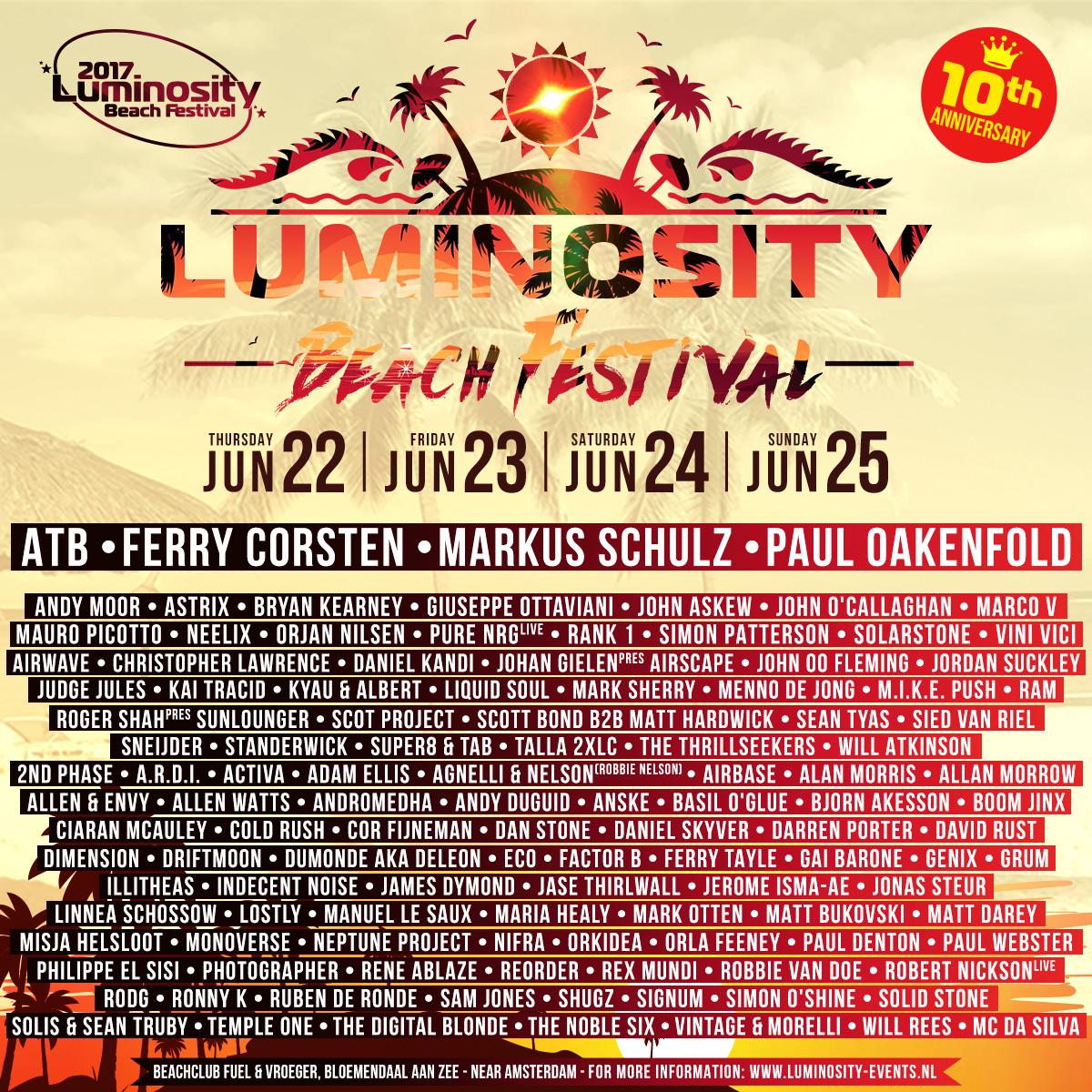 Luminosity Beach Festival 2017 – 10 Years Anniversary